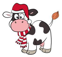 Niedliche Kuh mit Winterkleidung