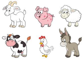 Set von sechs unterschiedlichen Tierarten auf dem Bauernhof