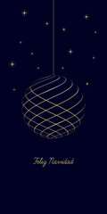 spanish christmas background with text Merry Christmas on dark blue background, very soft gold colored elements, christmas ball and stars, spain holiday isolated illustration