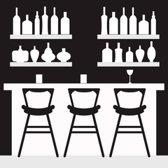 Black and white bar vector icon