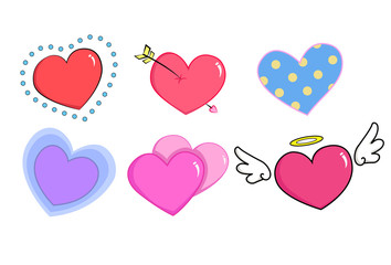 Hearts cartoon 6 style collection