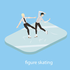 Figure skaters in ice vector illustration isometric