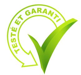 Fototapete - testé et garanti sur symbole validé vert