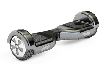 black hoverboard or self-balancing scooter, 3D rendering