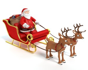 3d illustration of a santa sleigh and reindeer