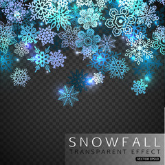 Falling snowflakes on transparent background. Winter shining Christmas snowflakes vector illustration.
