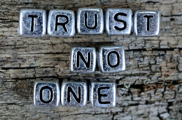 cube word trust no one on table