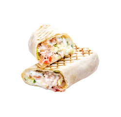 Tasty pita sandwich with lettuce, cheese, chicken fillet, fresh vegetables, mayonnaise, spices on a white background, isolated. Homemade wrap, street food concept.