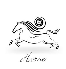 Logo horse swirl hair icon vector