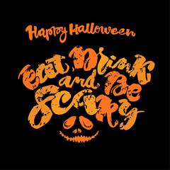 Halloween lettering poster, inspirational postcard