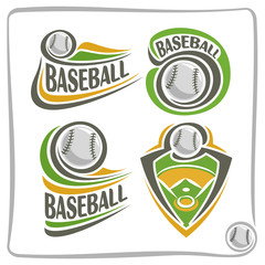 Vector abstract logo Baseball Ball, decoration sign sports club, simple line contour stitched ball flying above green field, isolated sporting equipment icon, flat design baseball game school blazon.