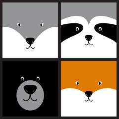 Vector cute cartoon wolf, raccoon, bear and fox