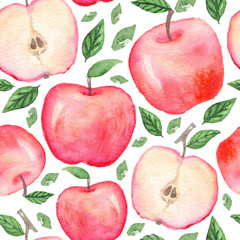 Seamless pattern with hand drawn watercolor apples on white background