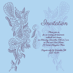 Vector invitation. Blue butterfly pattern.