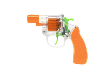 Plastic Toy Gun on White Background