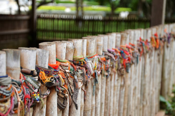 Colored bracelets of the killing fields of Choeung Ek in Phnom P Wall mural