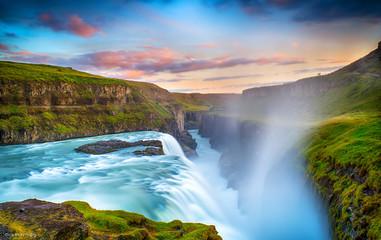 Printed kitchen splashbacks Blue sky Gulfoss Falls, Iceland