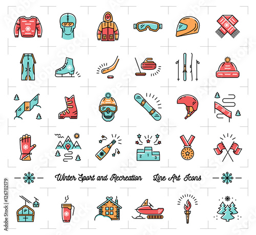 e1a2d452ea46 Colorful winter sport line icons set. Winter recreation and fun