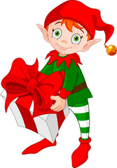 Christmas Elf with Gift/ Illustration of red haired Christmas elf standing and carrying a gift