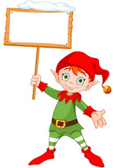 Christmas Elf with Sign/ Illustration of a cute Christmas elf holding up a snowy sign