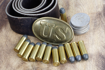 US Belt Buckle Civil War period with revolver cartridges