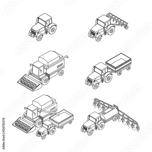 vector illustration Set of outline agricultural icons Farm