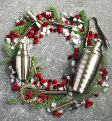 Set of bar in the form of a Christmas wreath