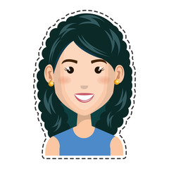 woman character with cuttihng line vector illustration design