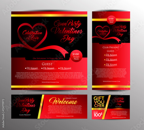 Valentines Day Party Invitation Card Golden Ticket And Gift