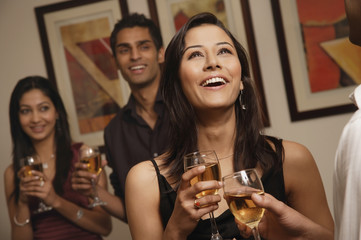 woman at party laughing