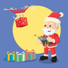 santa with drone illustration design
