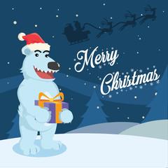 polar bear holding christmas present