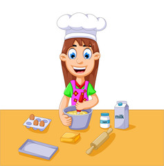 funny cartoon girl making cake