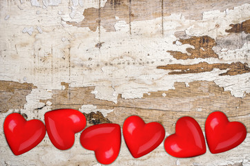 Hearts on wooden.