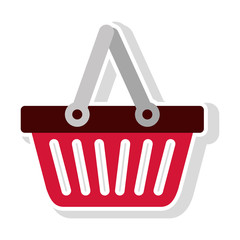 basket shopping icon over white background. vector illustration