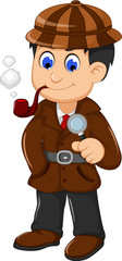 cute detective cartoon posing with magnifying glass