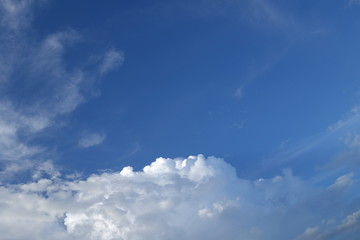 Clouds against clear blue sky background