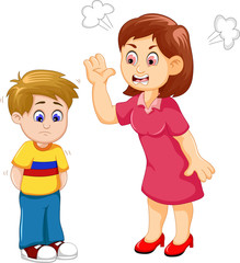 cartoon Mather scolding her son