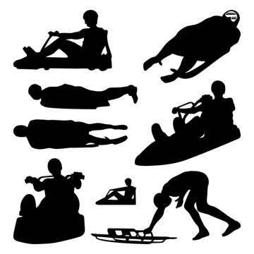 Ice Luge Sled Driver Race Illustration Vector Silhouette Set