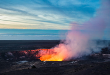 Fire and steam erupting from Kilauea Crate, Hawaii Volcanoes National Park, Big Island of Hawaii