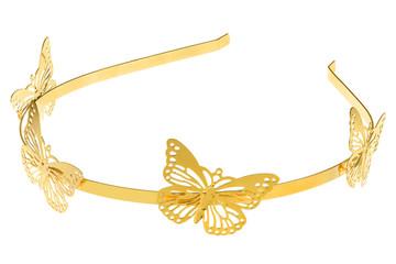 Golden metallic head band with big butterflies design, isolated