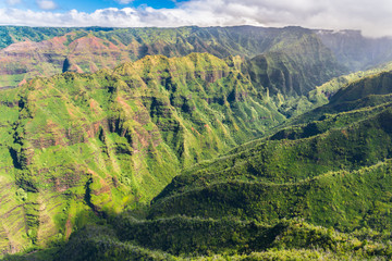 Wall Mural - Stunning aerial view of spectacular jungles, Kauai, Hawaii