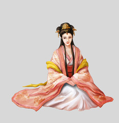 Ancient Chinese People Artwork: Beautiful Woman, Princess, Beauty. Video Game's Digital CG Artwork, Concept Illustration, Realistic Cartoon Style Background and Character Design