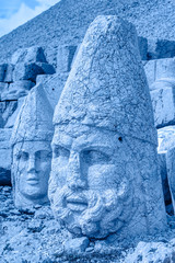 East terrace of Mount Nemrut at sunrise with the head in front of the statues