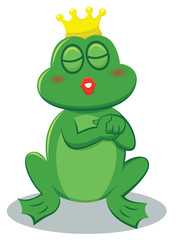 Frog Prince Kissing Cartoon Illustration