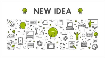 Vector line design concept web banner for new idea