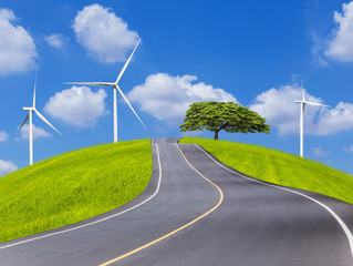 Empty country asphalt road with big tree and wind turbines generating electricity on green field