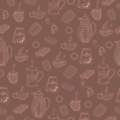 Seamless vector pattern with biscuits, waffles, marmalade, mugs and teapots.