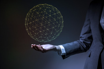 mesh network wire frame 3D rendering image, business person holding hand, technological concept abstract