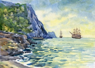 Ships at the sea shore. Watercolor painting